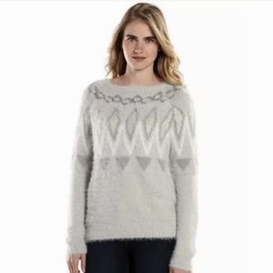 NWOT Lauren Conrad Fairisle Eyelash Gray Sweater